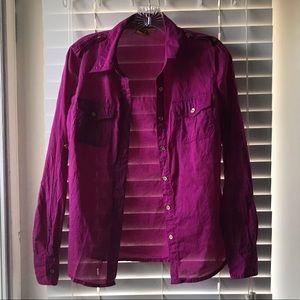 Tory Burch Pink Button Down Shirt Size 8